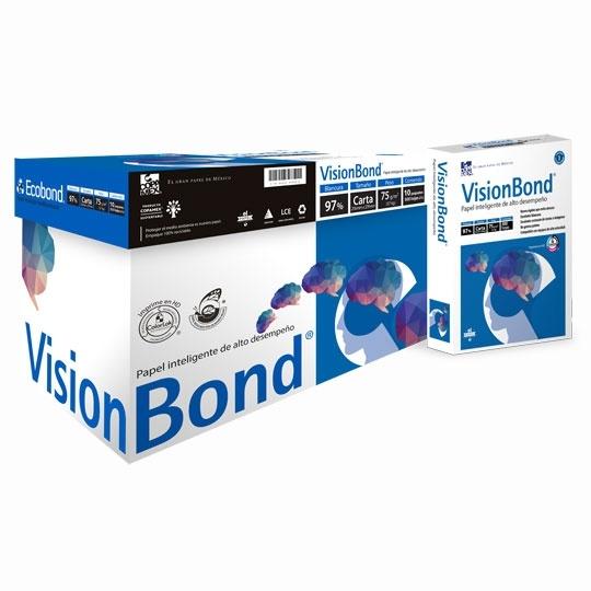 CAJA DE PAPEL BOND BLANCO CARTA COPAMEX VISION BOND GRAMAJE 75 GRS BLANCURA 95 PORCIENTO 8.5 X 11 PULGADAS 10 PAQUETES CON 500 HOJAS
