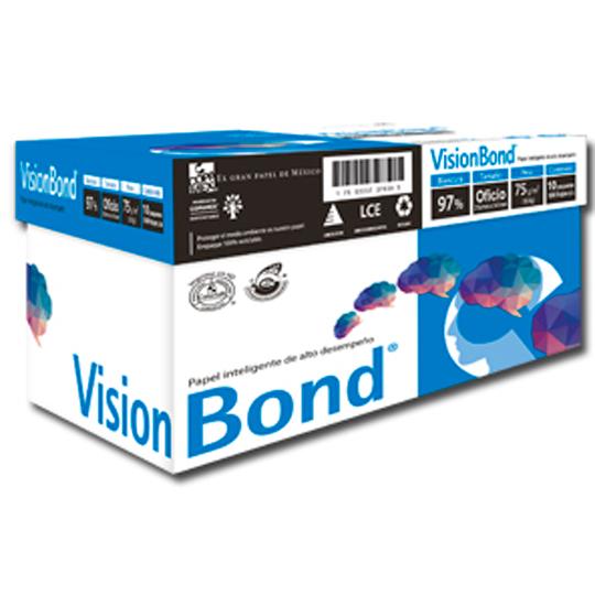 CAJA DE PAPEL BOND BLANCO OFICIO COPAMEX VISION BOND GRAMAJE 75 GRS BLANCURA 95 PORCIENTO 8.5 X 13.3 PULGADAS 10 PAQUETES CON 500 HOJAS