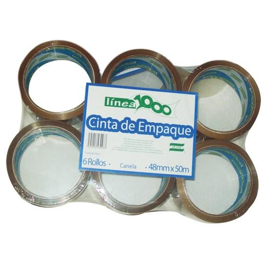 CINTA ADHESIVA DE EMPAQUE CANELA DEVEK 1000 DE 48 MM X 50 M BLISTER CON 6 PZAS