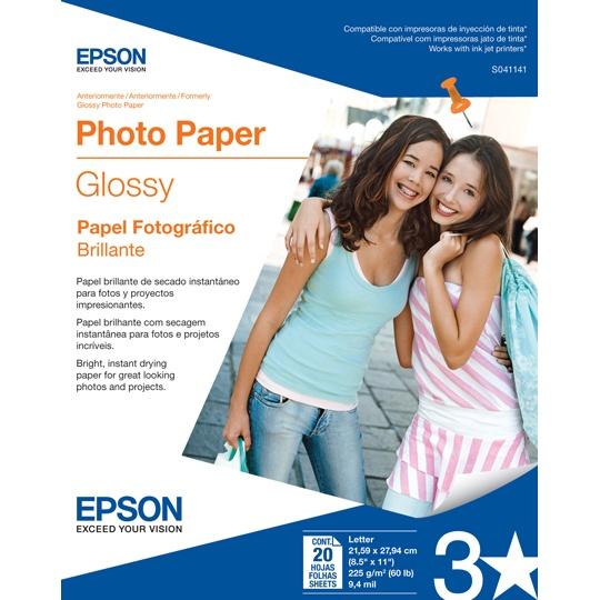 PAPEL FOTOGRAFICO EPSON GLOSSY PHOTO S041141 TAMAÑO CARTA 8.5 X 11 PULGADAS 20 HOJAS