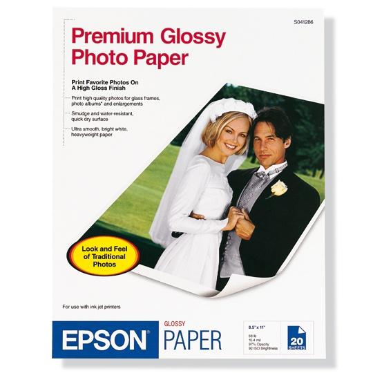 PAPEL FOTOGRAFICO EPSON PREMIUM SATINADO S041286 TAMAÑO CARTA 8.5 X 11 PULGADAS 20 HOJAS
