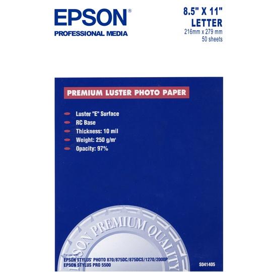 PAPEL FOTOGRAFICO BLANCO CARTA EPSON GRAMAJE 251 GRS BLANCURA - 8.5 X 11 PULGADAS 1 PAQUETE CON 50 HOJAS
