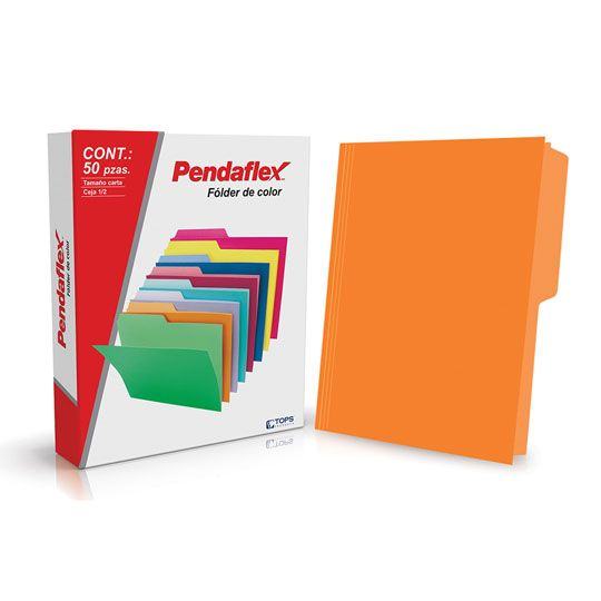 FOLDER DE PAPEL TAMAÑO CARTA TOPS PRODUCTS PENDAFLEX 05012NA TIPO 1/2 CEJA COLOR NARANJA 1 PQ C/50 PZS