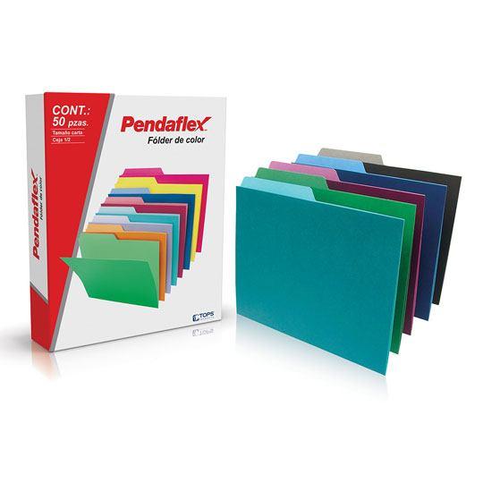 FOLDER DE PAPEL TAMAÑO CARTA TOPS PRODUCTS PENDAFLEX 05012SE TIPO 1/2 CEJA COLOR SURTIDO 1 PQ C/50 PZS