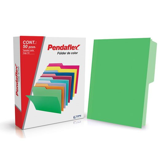 FOLDER DE PAPEL TAMAÑO CARTA TOPS PRODUCTS PENDAFLEX 05012VD TIPO 1/2 CEJA COLOR VERDE 1 PQ C/50 PZS