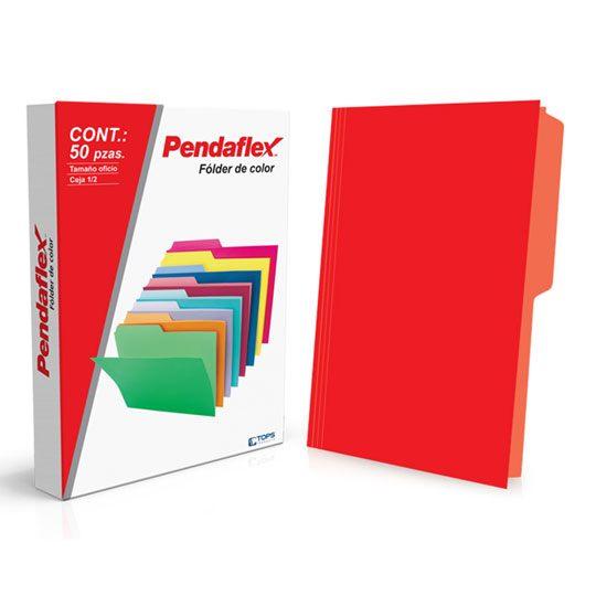 FOLDER DE PAPEL TAMAÑO OFICIO TOPS PRODUCTS PENDAFLEX 15012RJ TIPO 1/2 CEJA COLOR ROJO 1 PQ C/50 PZS