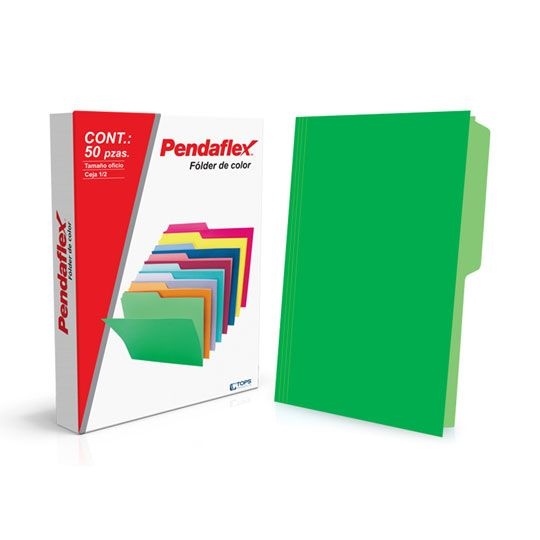 FOLDER DE PAPEL TAMAÑO CARTA TOPS PRODUCTS PENDAFLEX 15012VD TIPO 1/2 CEJA COLOR VERDE 1 PQ C/50 PZS