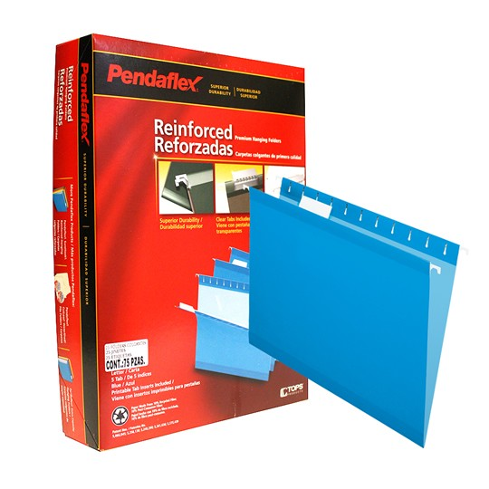 FOLDER DE PAPEL TAMAÑO CARTA TOPS PRODUCTS PENDAFLEX 4152BLU TIPO COLGANTE COLOR AZUL 1 PQ C/25 PZS