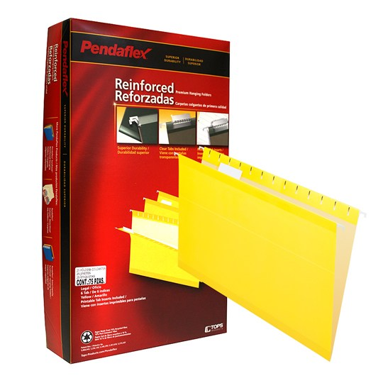 FOLDER DE PAPEL TAMAÑO OFICIO TOPS PRODUCTS PENDAFLEX 4153YEL TIPO COLGANTE COLOR AMARILLO 1 PQ C/25 PZS