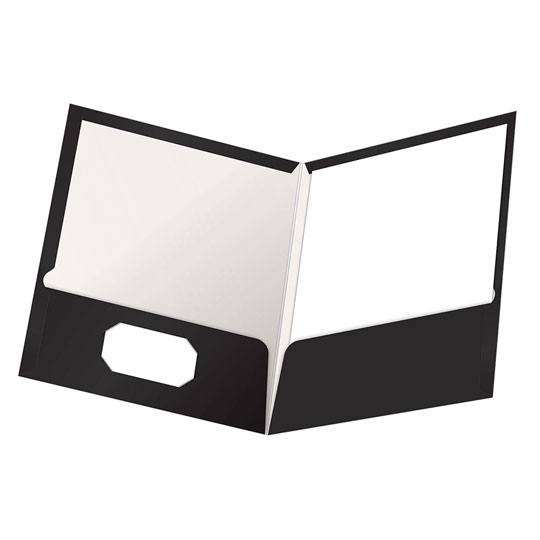 FOLDER DE PAPEL TAMAÑO CARTA TOPS PRODUCTS OXFORD 51706 TIPO PLASTIFICADO COLOR NEGRO 1 PQ C/25 PZS