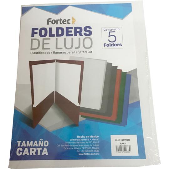 FOLDER DE PAPEL TAMAÑO CARTA FORTEC EL-3001 TIPO PLASTIFICADO COLOR BLANCO 1 PAQUETE CON 5 PIEZAS