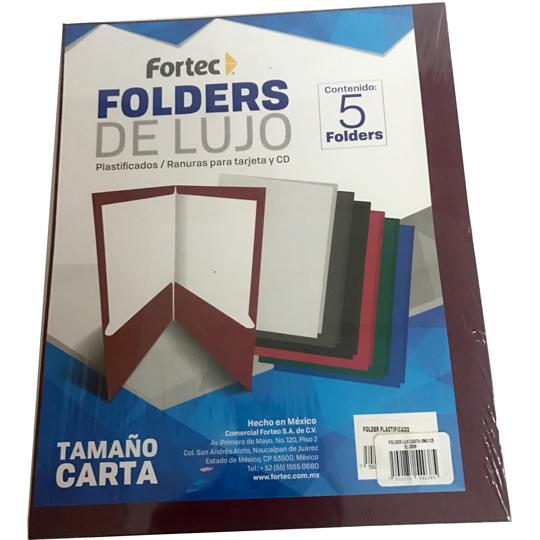 FOLDER DE PAPEL TAMAÑO CARTA FORTEC EL-3006 TIPO PLASTIFICADO COLOR VINO 1 PAQUETE CON 5 PIEZAS