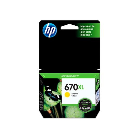 CARTUCHO DE TINTA HP 670XL AMARILLO ORIGINAL CZ120AL