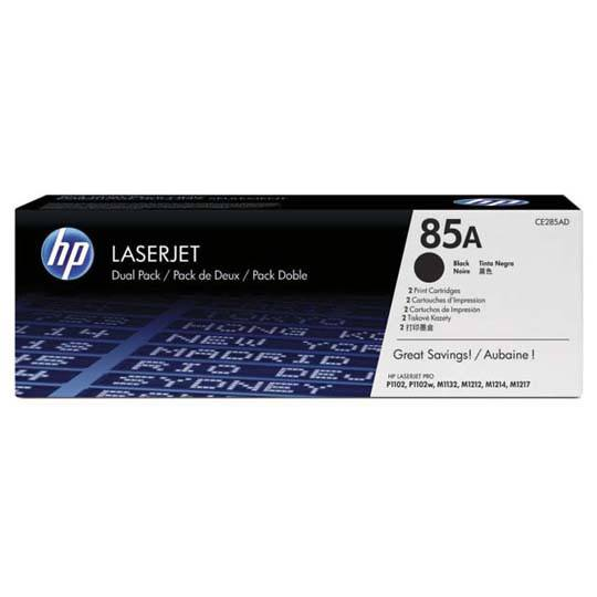 TONER DUAL PACK HP 85A CE285AD COLOR NEGRO