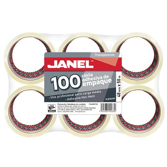 CINTA ADHESIVA DE EMPAQUE TRANSPARENTE JANEL 155 DE 48 MM X 50 M BLISTER CON 6 PZAS