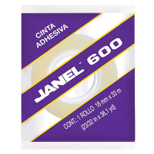 CINTA ADHESIVA CORTE FACIL JANEL 600 TRANSPARENTE DE 18 MM X 33 M 1 PZA