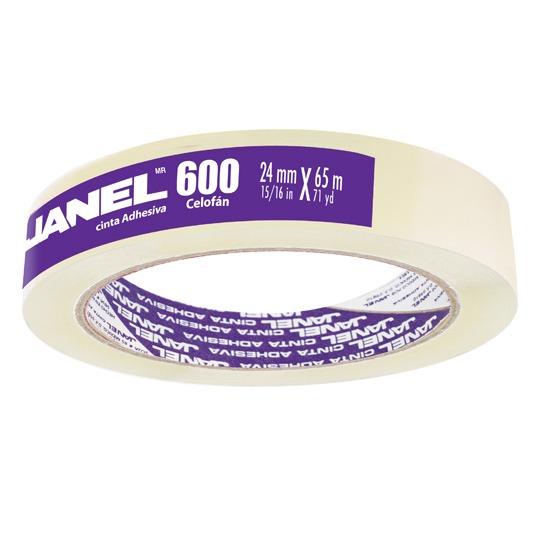 CINTA ADHESIVA CORTE FACIL JANEL 600 TRANSPARENTE DE 24 MM X 65 M 1 PZA