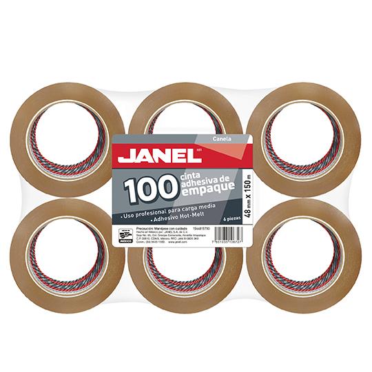 CINTA ADHESIVA DE EMPAQUE CANELA JANEL 156 DE 48 MM X 150 M BLISTER CON 6 PZAS