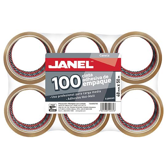CINTA ADHESIVA DE EMPAQUE CANELA JANEL 156 DE 48 MM X 5 0M BLISTER CON 6 PZAS