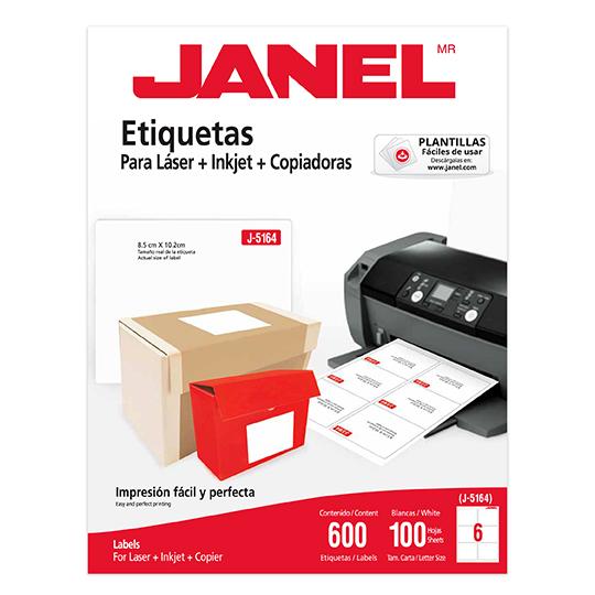 ETIQUETAS BLANCAS JANEL J-5164 DE 8.5X10.2 CM 1 PAQUETE