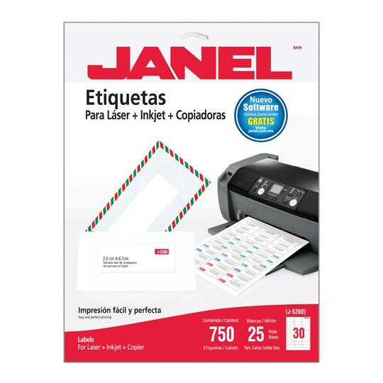 ETIQUETAS BLANCAS JANEL J-5260 DE 2.5X6.7 CM 1 PAQUETE (25 HOJAS)