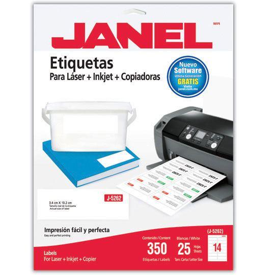 ETIQUETAS BLANCAS JANEL J-5262 DE 3.4X10.2 CM 1 PAQUETE