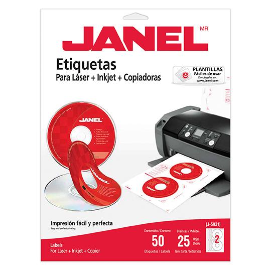 ETIQUETAS PARA CD BLANCAS JANEL J-593125 DE 117 MM 1 PAQUETE