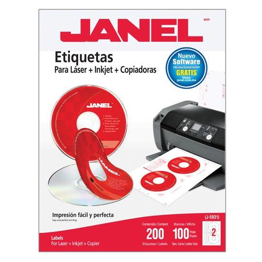ETIQUETAS PARA CD BLANCAS JANEL J-5931 DE 117 MM 1 PAQUETE