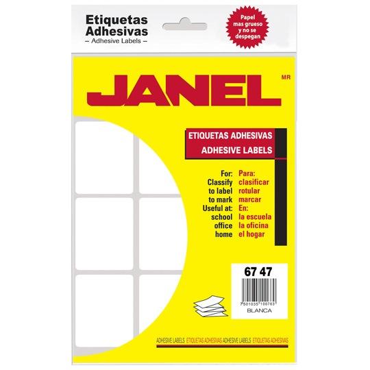 ETIQUETAS BLANCAS JANEL NO.13 DE 67X47 MM 1 PAQUETE