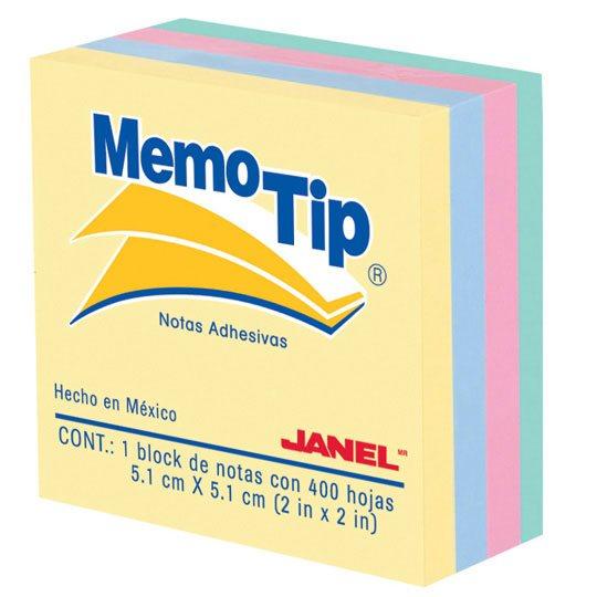 NOTA ADHESIVA REMOVIBLE JANEL MEMOTIP 0202296 COLORES PASTEL FORMA CUADRADA 400 HOJAS