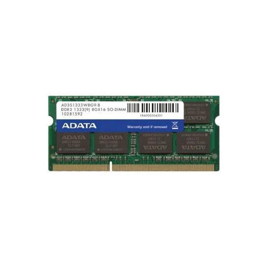 MEMORIA RAM TIPO GENERICA ADATA DE 8 GB EMBALAJE SODIMM TECNOLOGIA DDR3 VELOCIDAD DE 1333 MHZ