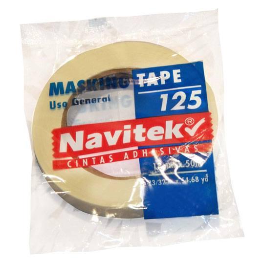 CINTA ADHESIVA MASKING TAPE NAVITEK 125 COLOR BLANCA DE 12 MM X 50 M 1 PZA