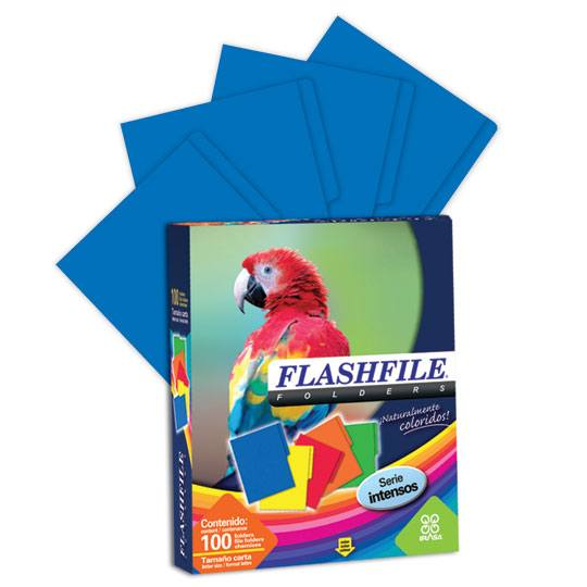 FOLDER DE PAPEL TAMAÑO CARTA IRASA FLASHFILE TIPO 1/2 CEJA COLOR AZUL 1 PQ C/100 PZS