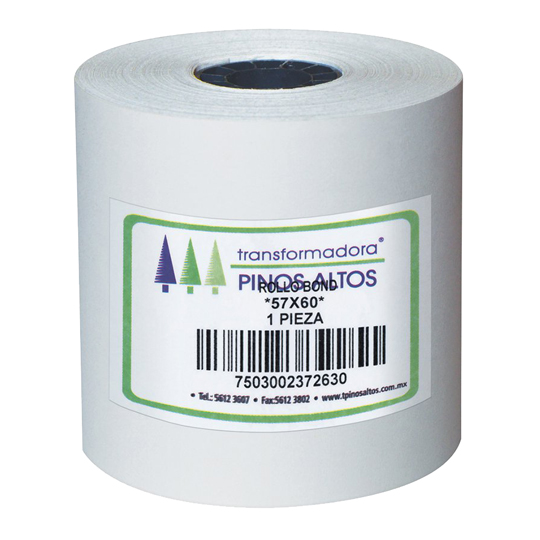 ROLLO PARA CALCULADORA SATINADO PINOS ALTOS DE 57MM X 60 MTS COLOR BLANCO 1 CAJA CON 50 PZ