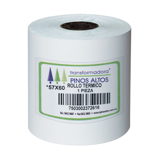 ROLLO PARA CALCULADORA TERMICO PINOS ALTOS DE 57MM X 60 MTS COLOR BLANCO 1 CAJA CON 50 PIEZAS