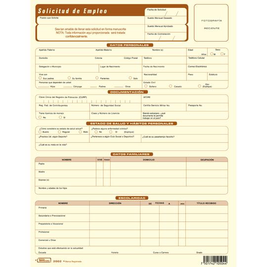 Compra Solicitud De Empleo 2002p3 Printaform Carta Papel