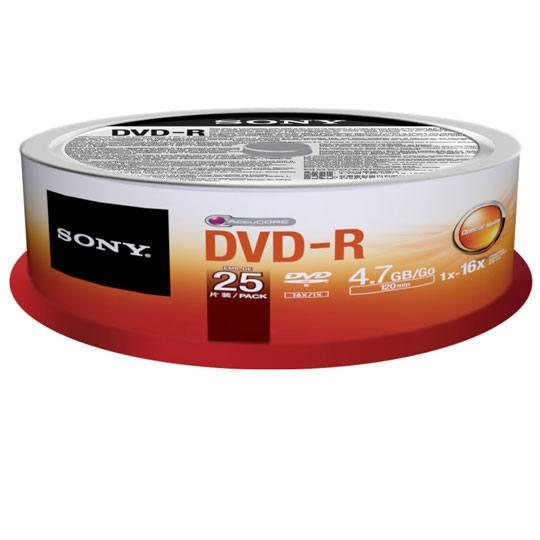 DVD DVD-R SONY 25DMR47 CAPACIDAD 4.7GB VELOCIDAD DE TRANSFERENCIA 16X CAMPANA DE 25 PIEZAS