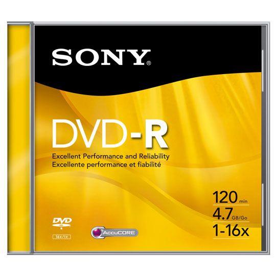 DVD DVD-R SONY DMR47 CAPACIDAD 4.7GB VELOCIDAD DE TRANSFERENCIA 16X INDIVIDUAL