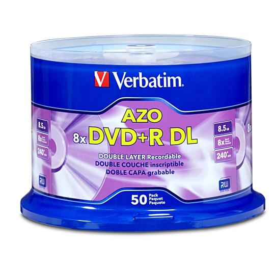 DVD DOBLE CAPA DVD R VERBATIM VB97000 CAPACIDAD 8.5GB VELOCIDAD DE TRANSFERENCIA 8X CAMPANA DE 50 PIEZAS