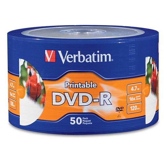 DVD DVD-R VERBATIM VB97167 CAPACIDAD 4.7GB VELOCIDAD DE TRANSFERENCIA 16X CAMPANA DE 50 PIEZAS