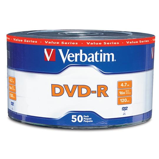 DVD DVD-R VERBATIM VB97493 CAPACIDAD 4.7GB VELOCIDAD DE TRANSFERENCIA 16X CAMPANA DE 50 PIEZAS