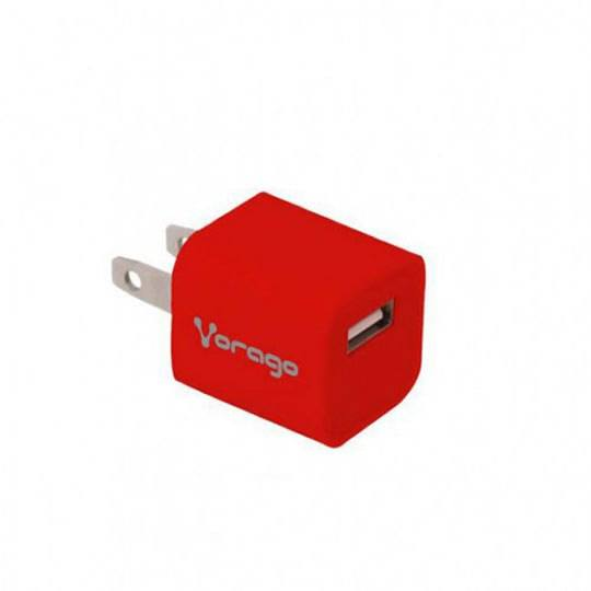 CARGADOR DE PARED VORAGO AU-105 COLOR ROJO
