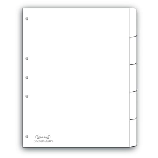 SEPARADOR WILSON JONES P0154 TAMAÑO CARTA CON 5 DIVISIONES DE PAPEL CON CEJAS PLASTIFICADAS 1 JUEGO