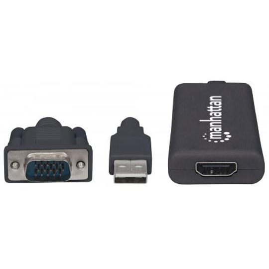 CONVERTIDOR DE DATOS MANHATTAN 152426 VGA A HDMI   AUDIO USB