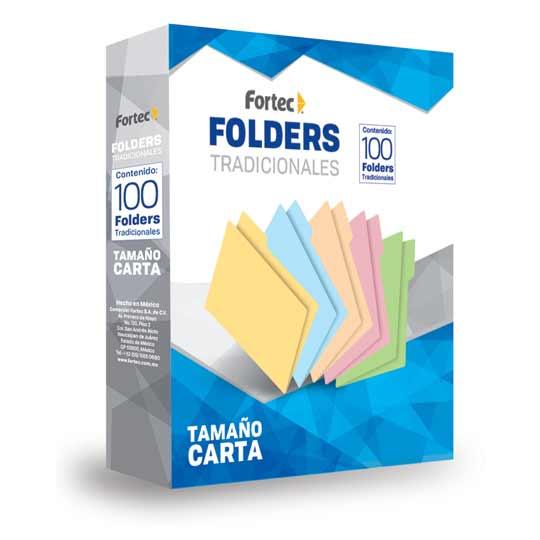 FOLDER DE PAPEL TAMAÑO CARTA FORTEC FCM-03 TIPO 1/2 CEJA COLOR AMARILLO 1 PAQUETE CON 100 PIEZAS