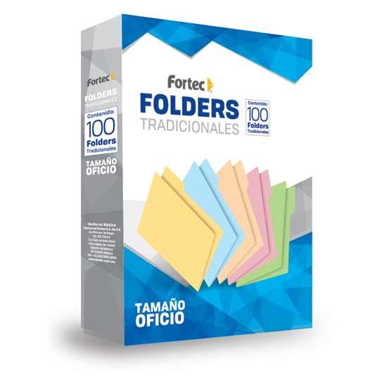 FOLDER DE PAPEL TAMAÑO OFICIO FORTEC FOV-15 TIPO 1/2 CEJA COLOR VERDE 1 PAQUETE CON 100 PIEZAS