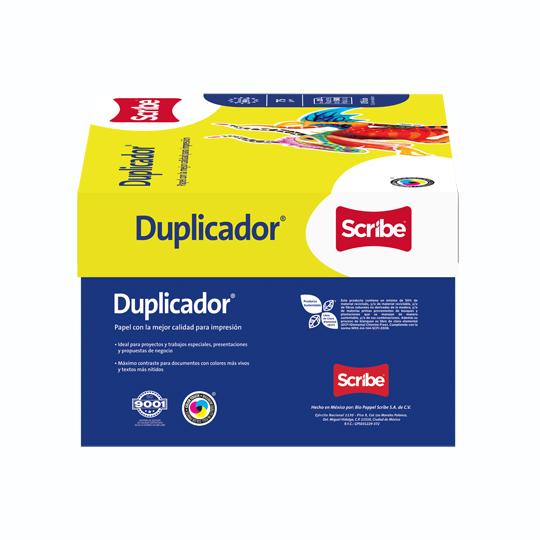 CAJA DE PAPEL BOND BLANCO OFICIO SCRIBE DUPLICADOR GRAMAJE 75 GRS BLANCURA 98 PORCIENTO 8.5 X 13.3 PULGADAS 10 PAQUETES CON 500 HOJAS