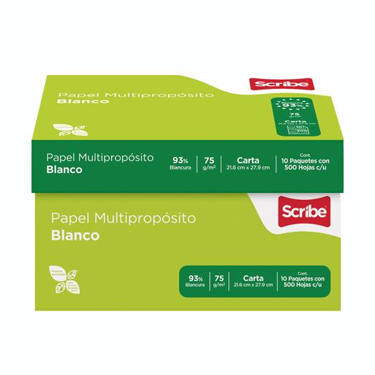CAJA DE PAPEL BOND BLANCO CARTA SCRIBE VERDE GRAMAJE 75 GRS BLANCURA 93 PORCIENTO 8.5 X 11 PULGADAS 10 PAQUETES CON 500 HOJAS
