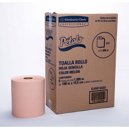 TOALLA EN ROLLO PETALO DE 180 METROS X 19.5 CM SENCILLA 6 ROLLOS