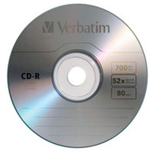 DISCO COMPACTO CD-R VERBATIM VB96250 CAPACIDAD 700 MB VELOCIDAD 52X PRESENTACION PAQUETE DE 10 PIEZAS